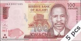 TWN - MALAWI 65b - 100 Kwacha 1.1.2016 DEALERS LOT X 5 - Prefix AX UNC - Malawi