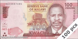 TWN - MALAWI 65b - 100 Kwacha 1.1.2016 DEALERS LOT X 100 - Prefix AX UNC - Malawi