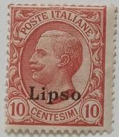 FRANCOBOLLO COLONIE ITALIANE EGEO - LIPSO - 1912 CENT 10 -VERDE -3-3 - Aegean (Lipso)