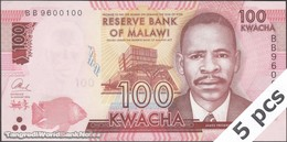 TWN - MALAWI 65b - 100 Kwacha 1.1.2016 DEALERS LOT X 5 - Prefix BB UNC - Malawi
