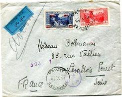 GRAND LIBAN LETTRE PAR AVION CENSUREE DEPART BEYROUTH 26 V 45 POUR LA FRANCE - Briefe U. Dokumente
