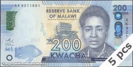 TWN - MALAWI A66 - 200 Kwacha 1.1.2016 DEALERS LOT X 5 - Prefix AK UNC - Malawi