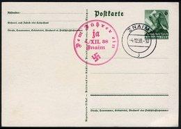 SUDETENLAND 1938, GS P275, ROTER SST ZNAIN 4.12.38 AUF BLANKO-POSTKARTE - Sudètes