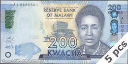 TWN - MALAWI A66 - 200 Kwacha 1.1.2016 DEALERS LOT X 5 - Prefix AL UNC - Malawi