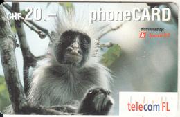 LIECHTENSTEIN - Monkey, Telecom FL Prepaid Card CHF 20, Exp.date 09/04, Used - Liechtenstein