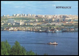 MURMANSK, RUSSIA (USSR, 1988). AERIAL VIEW OF THE CITY FROM THE KOLSKY BAY. Unused Postcard - Russia
