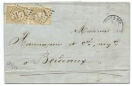 PAIRE N° 21 BISTRE NAPOLEON SUR LETTRE / ROCHEFORT SUR MER CHARENTE INFERIEURE POUR BORDEAUX / 1866 - Marcophilie (Lettres)