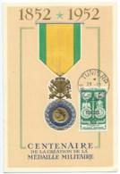 CENTENAIRE MEDAILLE MILITAIRE 1852 1952 SUR CARTE POSTALE TUNIS 1952 - Tunesien (1888-1955)
