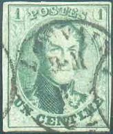 N°9a - Médaillon 1 Centime Vert-pâle, TB Margé E Voisin, Obl. Sc LOUVAIN Centrale. - TB - 15520 - 1858-1862 Médaillons (9/12)