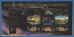 ISLE OF MAN 1999  MILLENIUM NIGHT SKY PHILATELIC BUREAU GREETING CARD WITH £2 STAMP FROM M.S. - Man (Ile De)