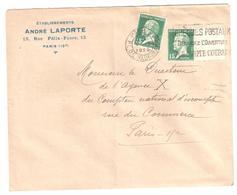 PARIS XV Vaugirard Lettre Entête Ets LAPORTE 15c Pasteur Yv 171 Ob Meca 1925 Tf 16 7 1925 Bande Inter Panneau - France
