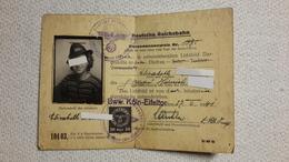 Personalausweis Deutsche Reichsbahn Bww. Köln - Eifeltor 1941 Ausweis - 1939-45