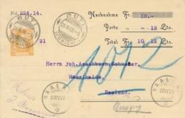 Schweiz - 1908 - 12c Helvetia - Privat Ganzsache Albert Rebsamen On Nachnahme Card From Ruti To Saaland - Entiers Postaux