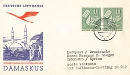 Bund Luftpost Drucksache Der Lufthansa Mef. MI.247 Hamburg Flughafen 4.1.57 N. Damaskus Syrien - BRD