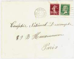 PARIS Gare St Lazare Lettre 20c Semeuse 30c Pasteur Yv 139 174 Ob Meca 26 1 1928 - France