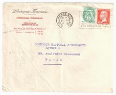 PARIS XVII Lettre Entête L'entreprise Ferroviaire R Madrid 5c Blanc 45c Pasteur Yv 111 175 Ob Meca 1926 - France