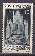 VATICANO 1936 ESPOSIZIONE MONDIALE DELLA STAMPA CATTOLICA SASS. 48 MLH VF - Vatican