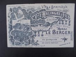 BUVARD - VINS ET SPIRITUEUX : Vve E. HALINGER - ROUEN - TRES BELLE ILLUSTRATION - Buvards, Protège-cahiers Illustrés