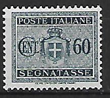 REGNO D'ITALIA LUOGOTENENZA 1945 SEGNATASSE STEMMA SENZA FASCI FIL.RUOTA SASS.91 MLH VF - 1944-46 Lieutenance & Humbert II
