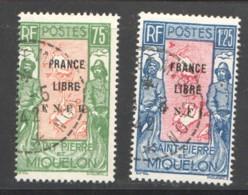 1942 Carte Des Iles, Surchargés «FRANCE LIBRE F.N.F.L.» Yv 286-7 - Used Stamps