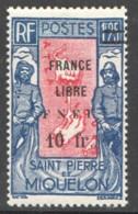 1942 Carte Des Iles, Surchargé «FRANCE LIBRE F.N.F.L. 20 Fr. »  Sur 1,25fr  Yv 289 * - St.Pierre Et Miquelon