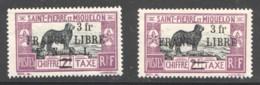 Chien De Terreneuve 2 Fr Surchargés 3 Fr  France LIbre, Avec Et Sns F.N.F.L.  Yv T56, 56a * - Timbres-taxe