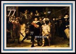 """Rwanda 1977 / International Stamp Exhibition """"AMPHILEX '77"""" - Amsterdam, Netherlands, Rembrandt  / Mi BL 76 / MNH - Philatelic Exhibitions"""