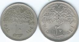 Egypt - Arab Republic - AH1404 (1984) - 10 Qirsh / Piastres - KM556 & 20 Qirsh / Piastres - KM557 - Egypte