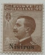 FRANCOBOLLO COLONIE ITALIANE EGEO - NISIROS - 1912 CENT 40 -BRUNO -SASSONE 3-6 - Aegean (Nisiro)