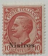 FRANCOBOLLO COLONIE ITALIANE EGEO - NISIROS - 1912 CENT 10 -rosa -SASSONE 3-3 - Aegean (Nisiro)