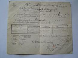 CERTIFICAT BONNE CONDUITE 1898 : PORT DE TOULON ( VAR ) - Documenti