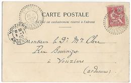 ST MOREL Ardennes CAD Facteur Boîtier B3  Sur Mocuchon Cpa GRANDPRE 1903  ...  G - 1877-1920: Période Semi Moderne
