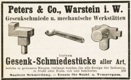 Original-Werbung/ Anzeige 1908 - GESENK-SCHMIEDESTÜCKE / PETERS - WARSTEIN  - Ca. 100 X 60 Mm - Werbung
