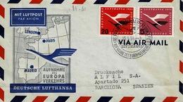 TPN° 80 Et 81 Sur Enveloppe Pour Barcelone Par Vol Lufthansa Frankfurt Madrid - Airplanes