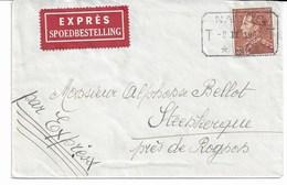 Lettre EXPRES TP. N° 531 Oblit. Télégr. NAMUR Du 8/2/1942 Vers STEENKERKE (Près De ROGNON) C.arrivée ROGNON - 1936-1951 Poortman