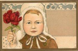 ILLUSTRATEUR ANDOR - JEUNE ENFANT AVEC JOLIE FLEUR ROUGE - Other Illustrators