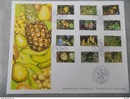 FDC Grand Format France 2012 : Moins De Co2, Fruits (série Complète 12 Timbres) - FDC