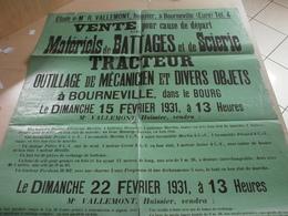 Affiche Ancienne 1931 Vente De Matériels De Battages à Bourneville - Posters