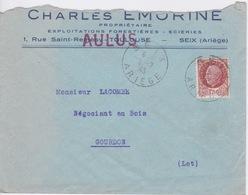 1943  SEIX AULUS EN ARIEGE  - CHARLES EMORINE PROP EXPLOITATIONS FORESTIERES SCIERIES  - ENTETE ENVELOPPE - France