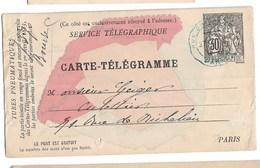Carte Télégramme 1883 Avec Plan Paris Adressé à Mr Geiger   Culottier Rue De Richelieu - Marcophilie (Lettres)