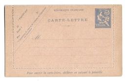 FRANCE ENTIER POSTAL  Carte Lettre Type Mouchon 25c Bleu - Letter Cards