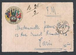 14-18 Carte -lettre 6 Drapeaux En Franchise Militaire Secteur Postal Tronqué Du 15 Mars 1918 Vers Paris - Guerre De 1914-18
