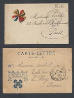 14-18 Carte -lettre X2 Porte Bonheur Trèfle Secteur Postal 23 Et 52 5/11/16 Et 10/7/17 - Guerre De 1914-18