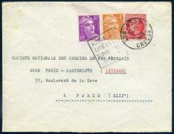 722 808 Gandon 676 Mazelin Tarif 15F Affranchissement Composé Daguin Aubusson Cité De La Tapisserie D'Art Creuse 1949 - Postmark Collection (Covers)