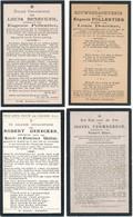 Koekelare / 4x Doodsprent / Bidprent  / Data Overlijden Tussen 1918 - 1931 - Devotieprenten