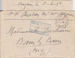 Lettre Avec Courrier Obl Bayonne Le 8/4/15 + Cachet Rectangulaire Hôpital Militaire -8 Avril 1915 De Bayonne - Poststempel (Briefe)