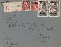 YT France 394 X2 + 304 X2 Surchargés CFA Recommandé CAD St Benoit Réunion 3 6 1950 Transit Saint Denis Par Avion - Isola Di Rèunion (1852-1975)