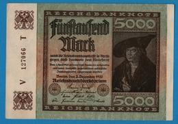 DEUTSCHES REICH 5000 Mark02.12.1922# V 127066 T   P # 81a   ( 6 Digit Serial #) - 5000 Mark