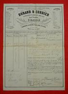 1849 Roulage Maison Durand & Cordier à Chalon Sur Saône  Transport Bonbonne Acide Sulfurique Bon état 17.5x25 Cm Décorée - Documents Historiques