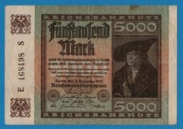 DEUTSCHES REICH 5000 Mark02.12.1922    # E 168498 S  P# 81a   ( 6 Digit Serial #) - 5000 Mark